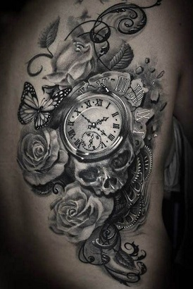 black-and-white-tattoos-clock