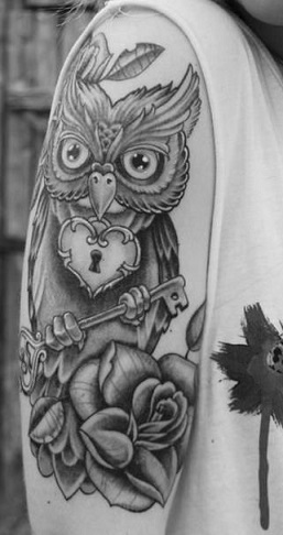 black-and-white-tattoos-owl