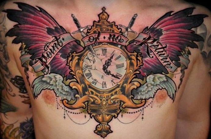 chest-tattoos-clock-montage
