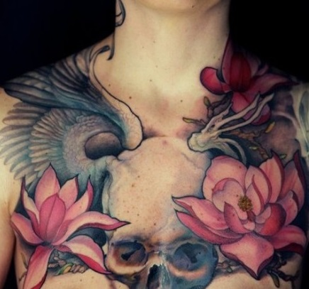 Chest tattoos tattoo insider for Chest tattoos for women