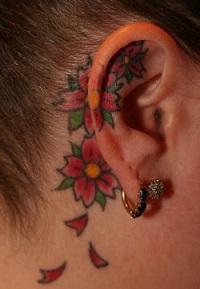 ear-tattoo-behind-flower