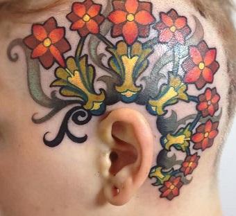 head-tattoo-floweral