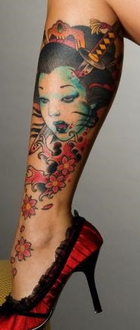 leg-tattoos-calf-japanese-female