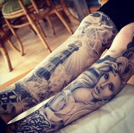 leg-tattoos-lighthouse-sleeve