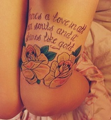 leg-tattoos-quote-roses