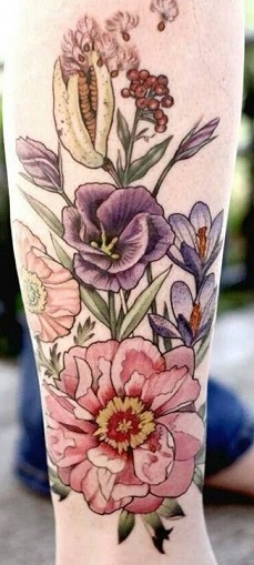 leg-tattoos-women-flowers