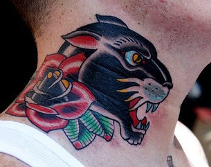 Neck tattoos tattoo insider for Old school panther tattoo