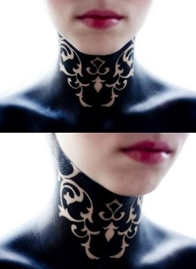 neck-tattoos-women-baroque-siloette