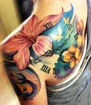 shoulder-blade-tattoos-hibiscus