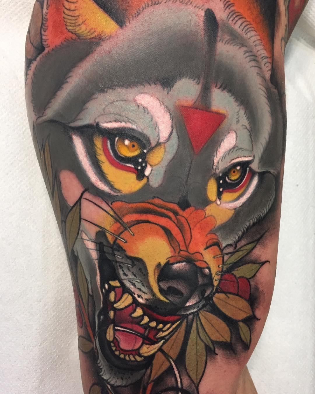 daniels bauti wolf tattoo - Neo Traditional Tattoo Dog