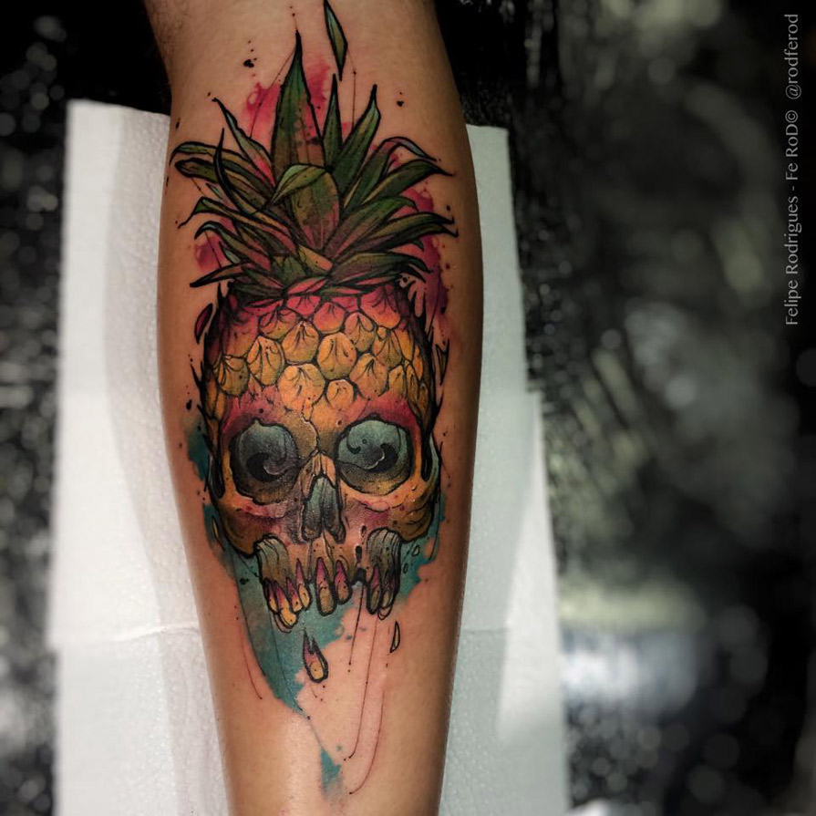 Flamingo Heart Tattoo Throughout Pineapple Tattoos