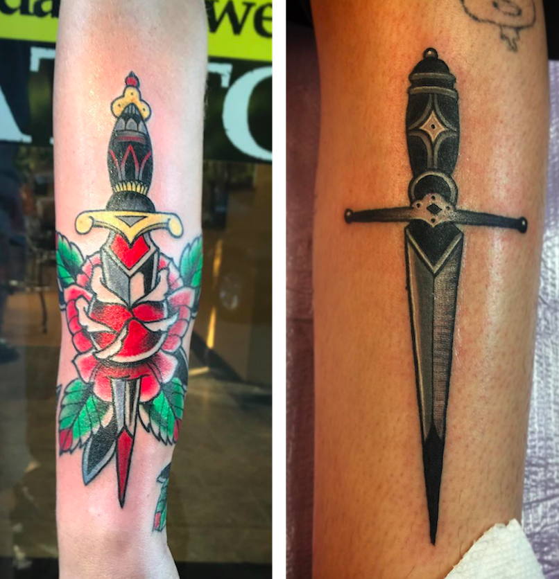 Dagger Tattoos by Mike DiCicco