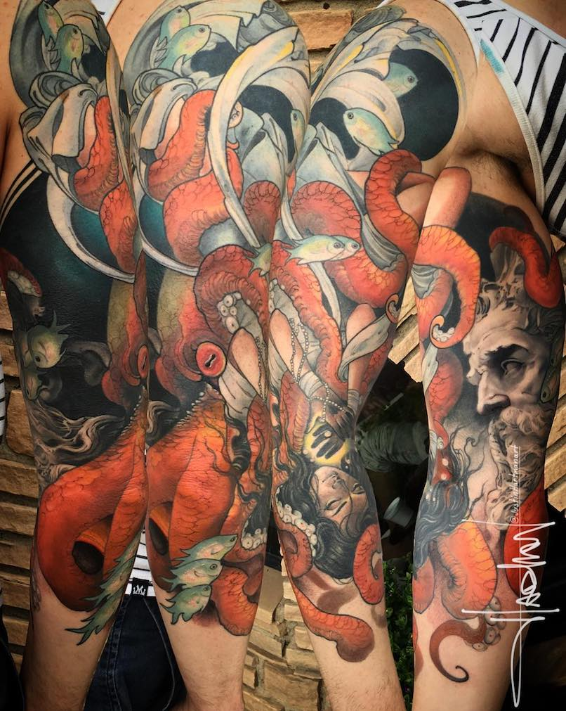 Poseidon and marine life tattoo sleeve by Justin Hartman