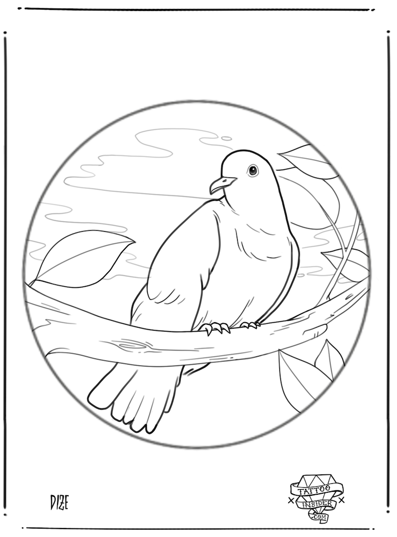 Circle Line Dove Tattoo Design