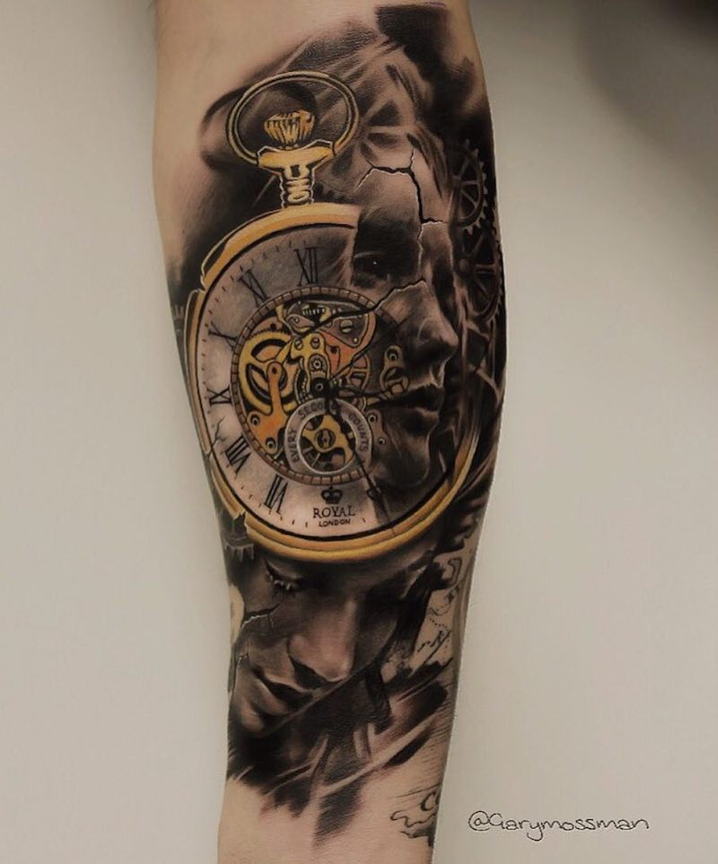 Clock Tattoo by Gary Mossman