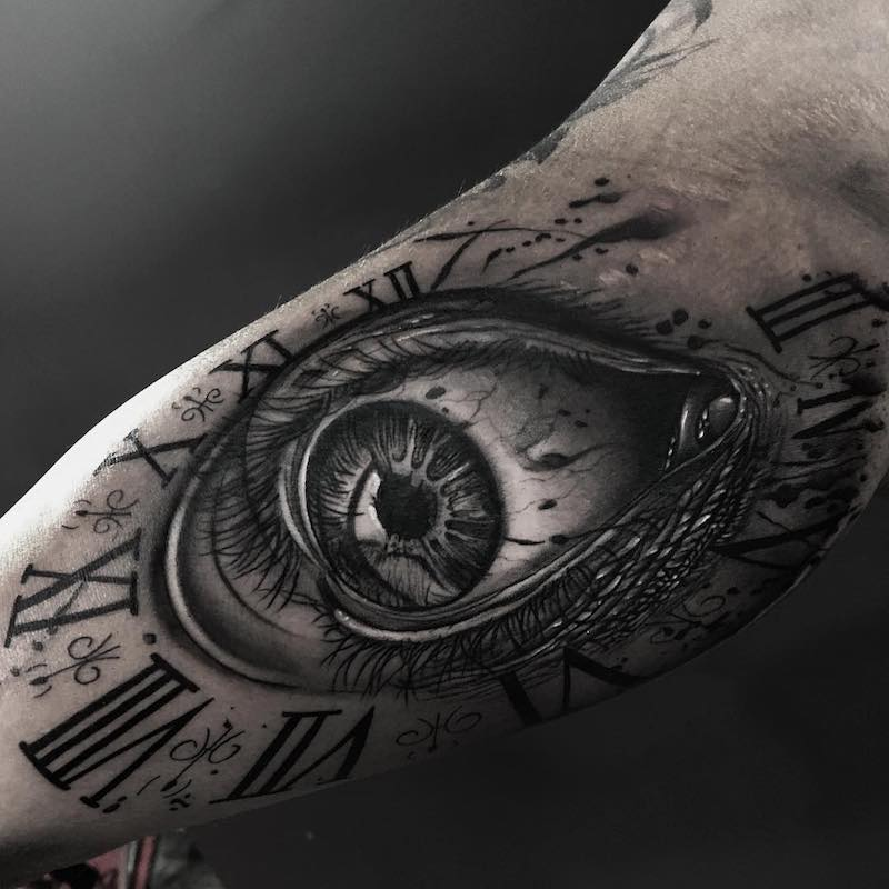 Eye and Clock Tattoo by Camacho Valencia