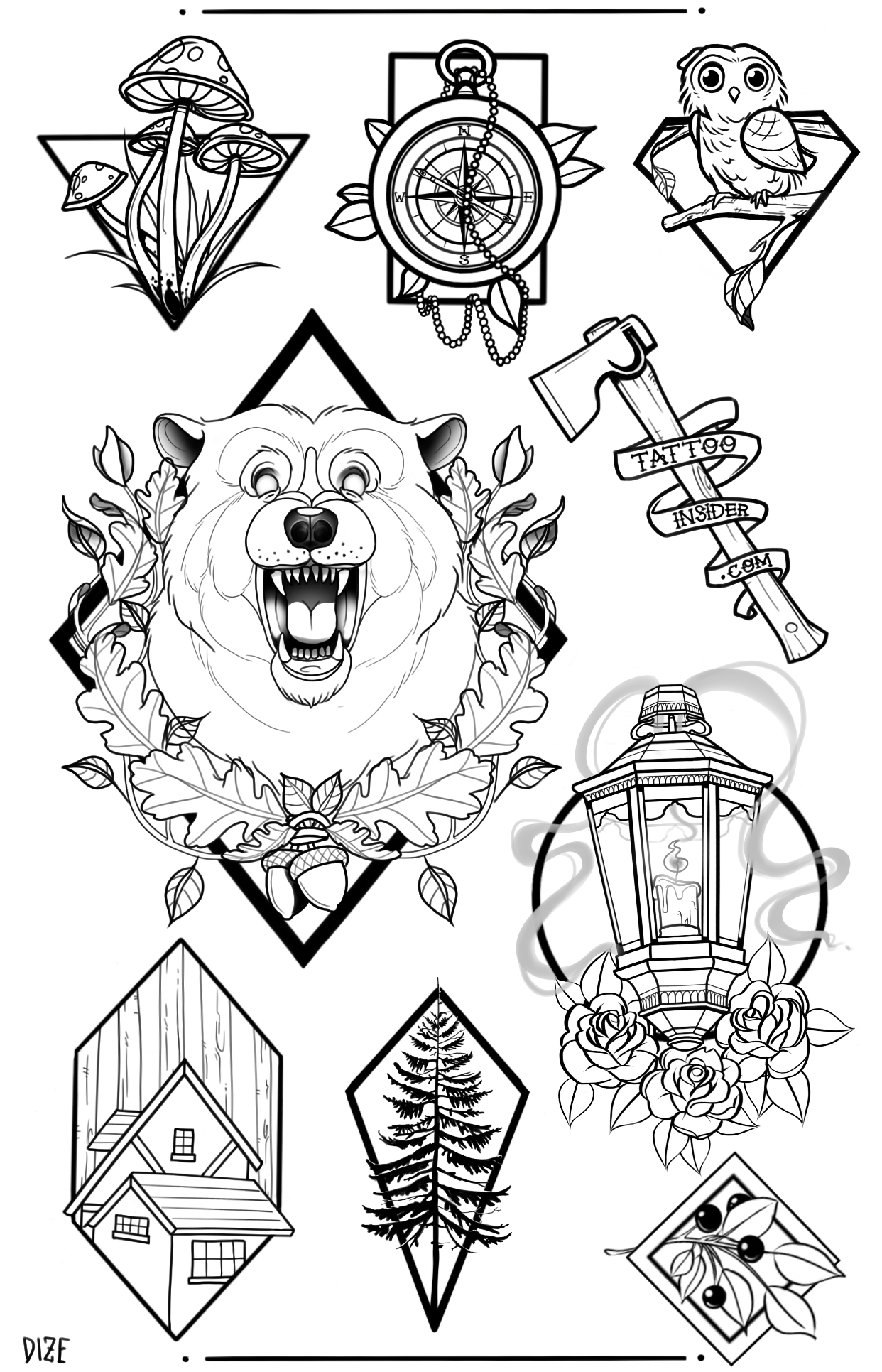 Forest Tattoo Flash