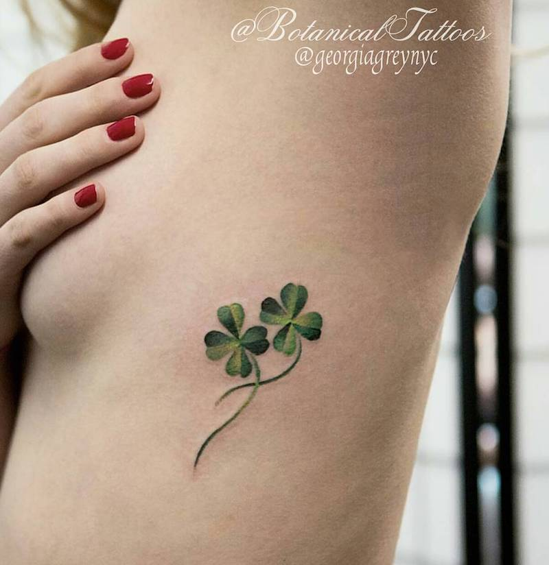 Four Leaf Clover Lucky Tattoo Georgia Grey