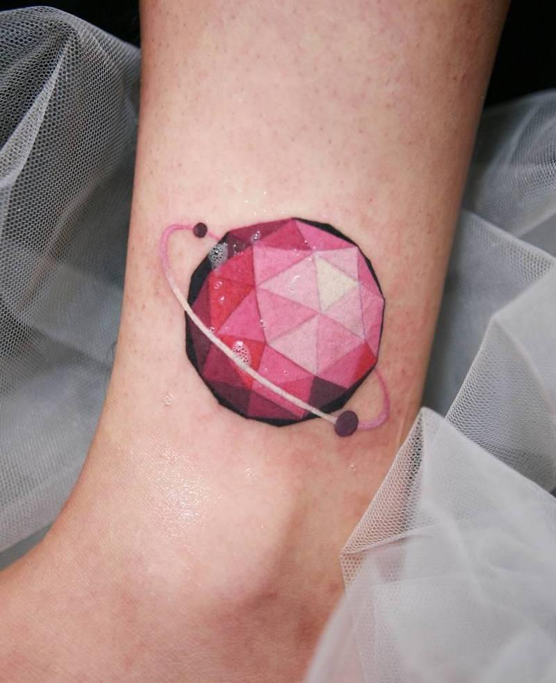 Low Poly Planet Tattoo by Sangjin