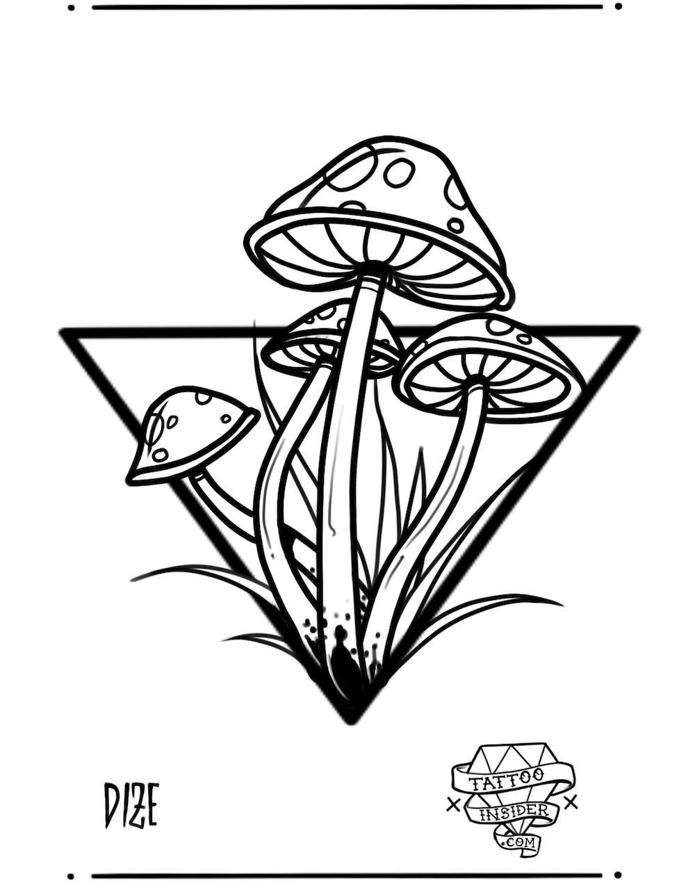 Mushroom Tattoo Design