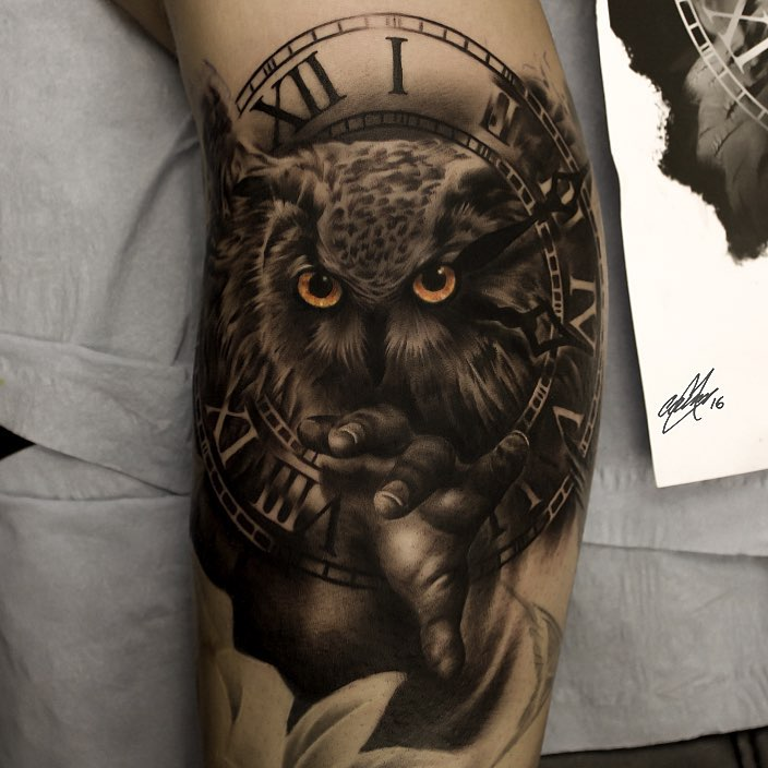 Owl and Clock Tattoo by Gary Mossman