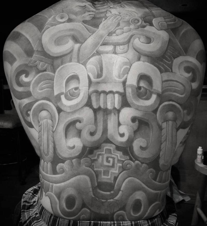 Back Aztec Tattoo by Antonio Mejia