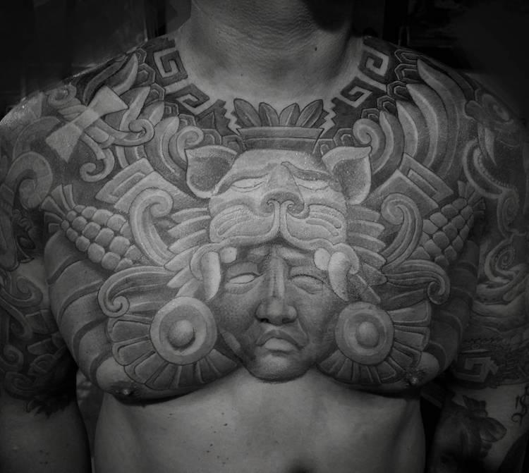 Chest Aztec Tattoo by Antonio Mejia