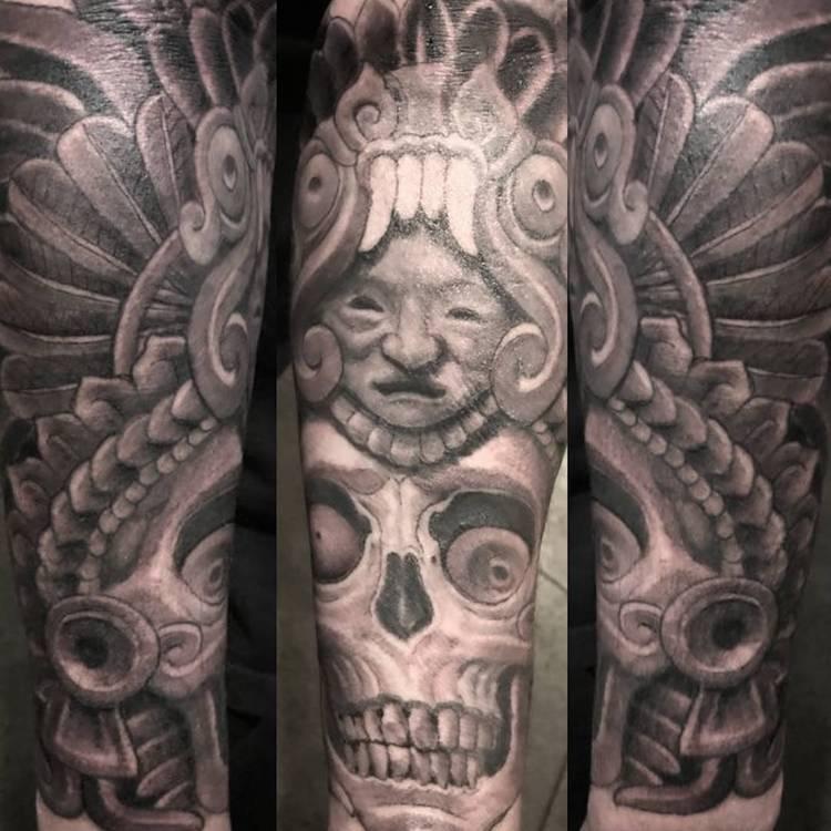 Forearm Aztec Tattoo by Antonio Mejia