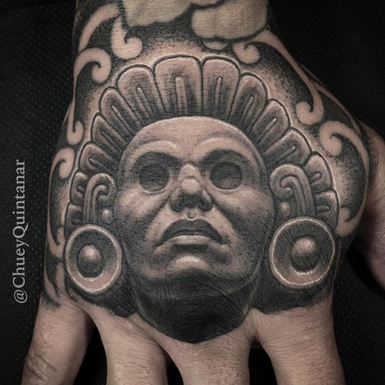 Hand Aztec Tattoo by Chuey Quintanar