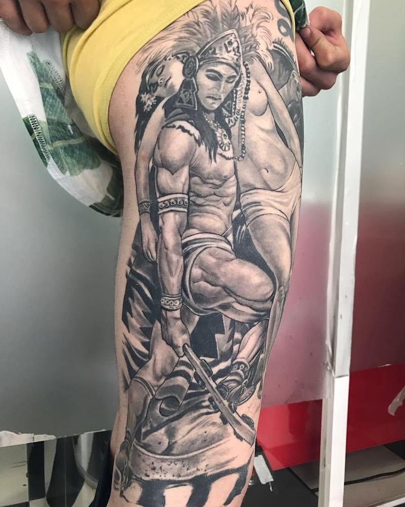 Leg Aztec Tattoo by Jose Bandera
