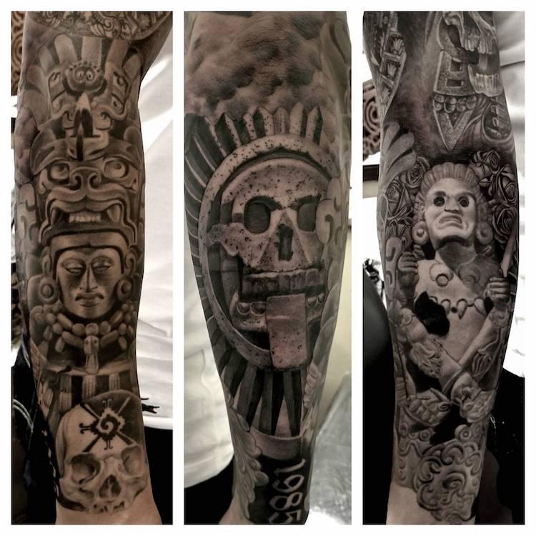 Mayan Aztec Tattoo by Freddy Negrete