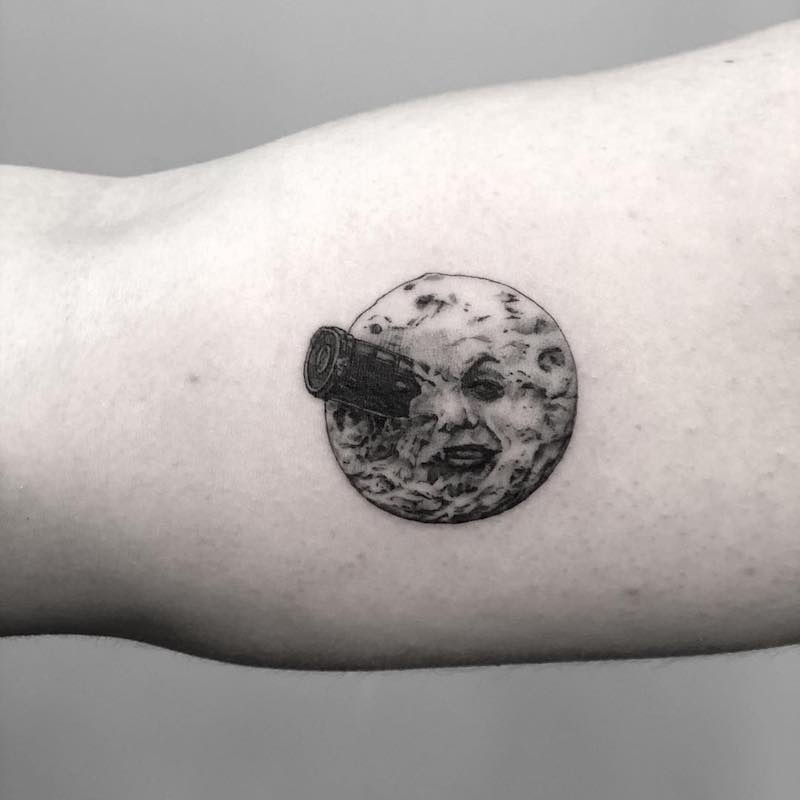 A Trip To The Moon Small Tattoo by Evan Tattoo