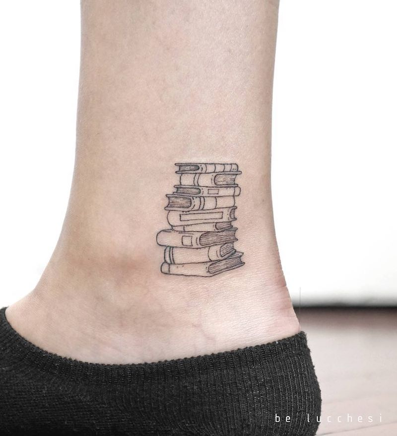 Books Small Tattoo by Be Lucchesi