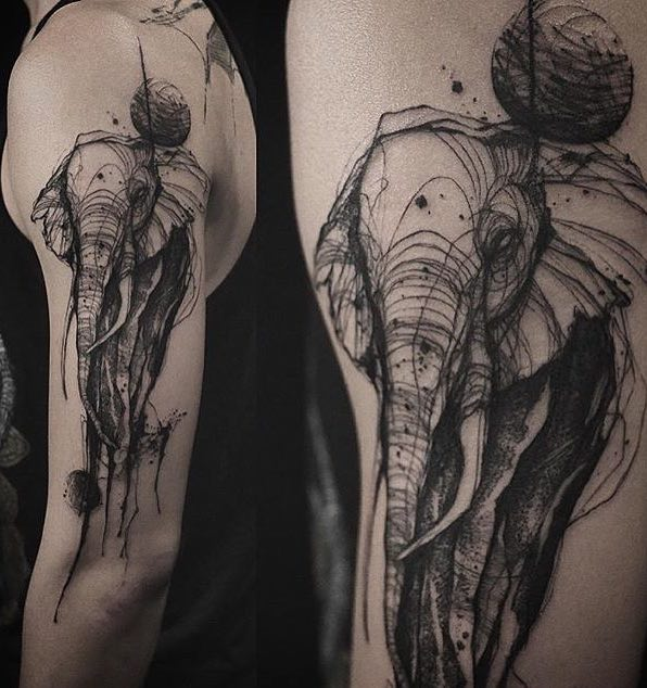 Elephant Tattoo by Tattooer Nadi