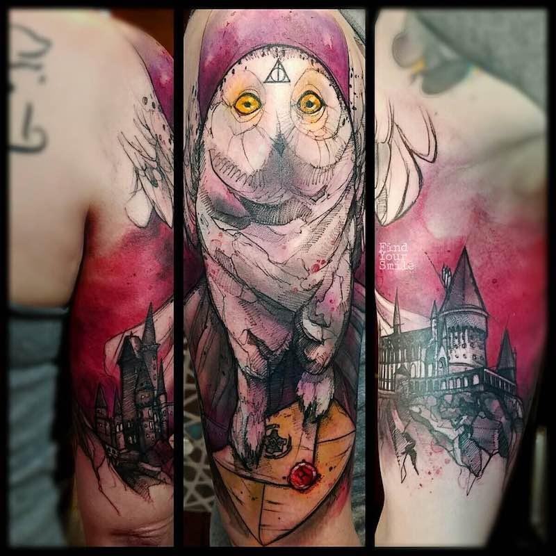 Hedwig Owl Tattoo by Russell Van Schaick