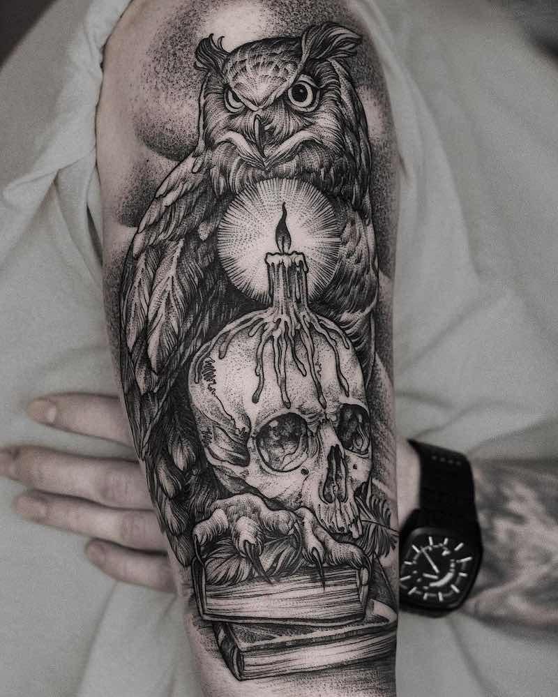 Owl Tattoo by Daniel Baczewski