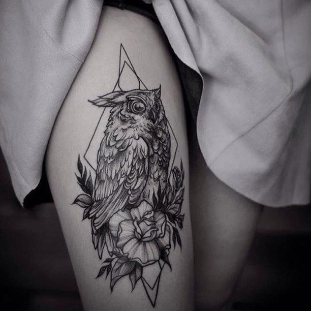 Owl Tattoo by Jeanne Saar