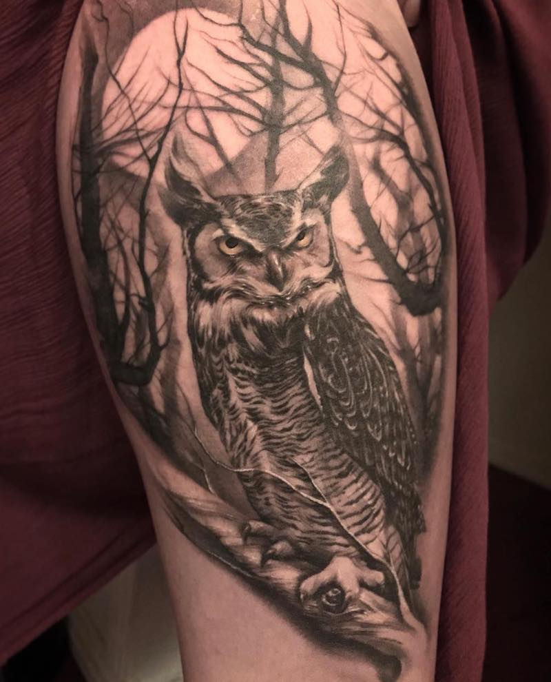Owl Tattoo by Mikey Carrasco