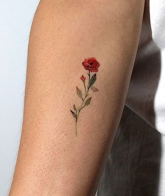 Rose Small Tattoo by Lena Fedchenko