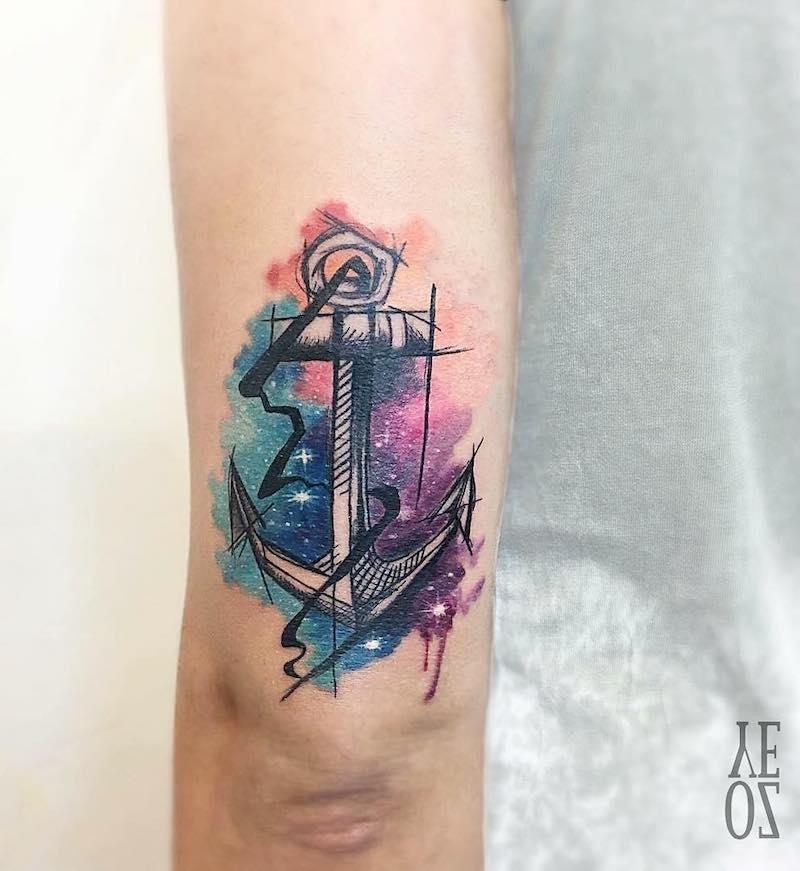 Anchor Tattoo by Veliz Ozcan