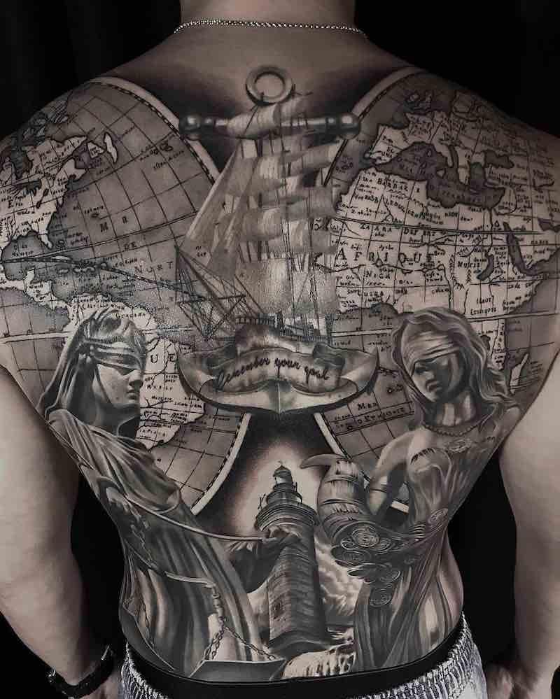 Back Anchor Tattoo by Alan Jiang