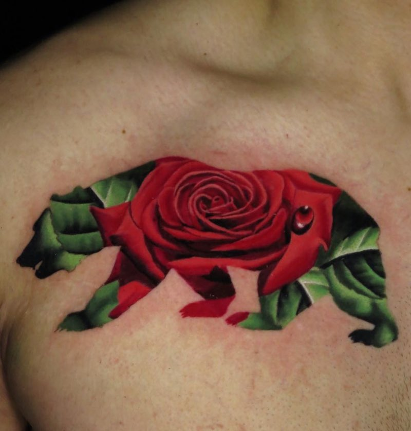 Bear Rose Tattoo by Jose Guevara Morales