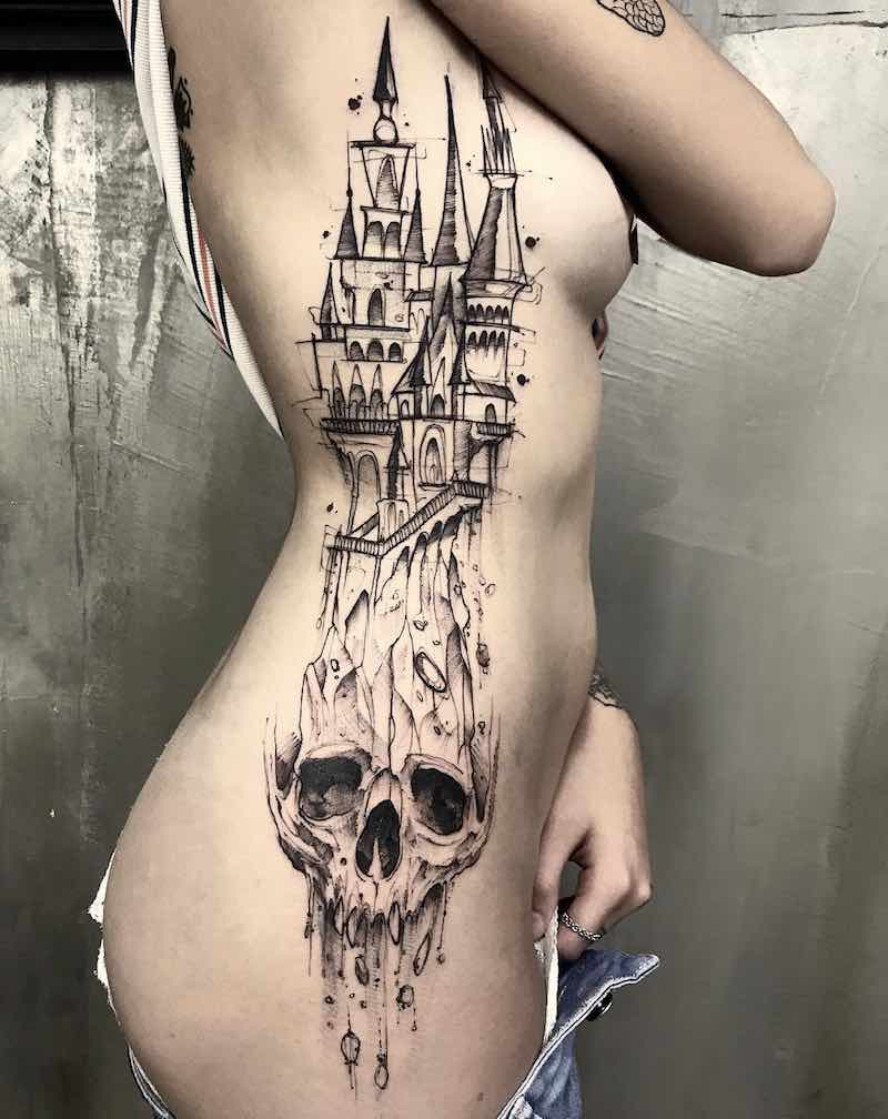Castle Skull Tattoo by Feliphe Veiga
