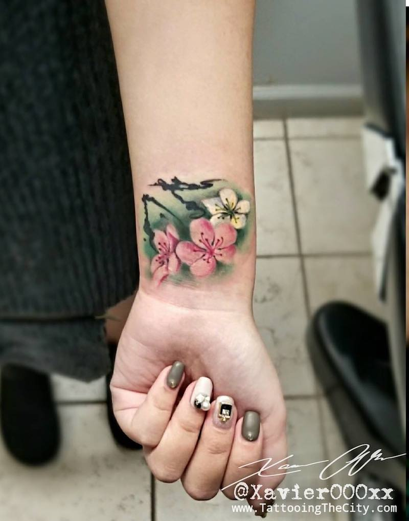 Cherry Blossom Tattoo by Xavier Alvarez