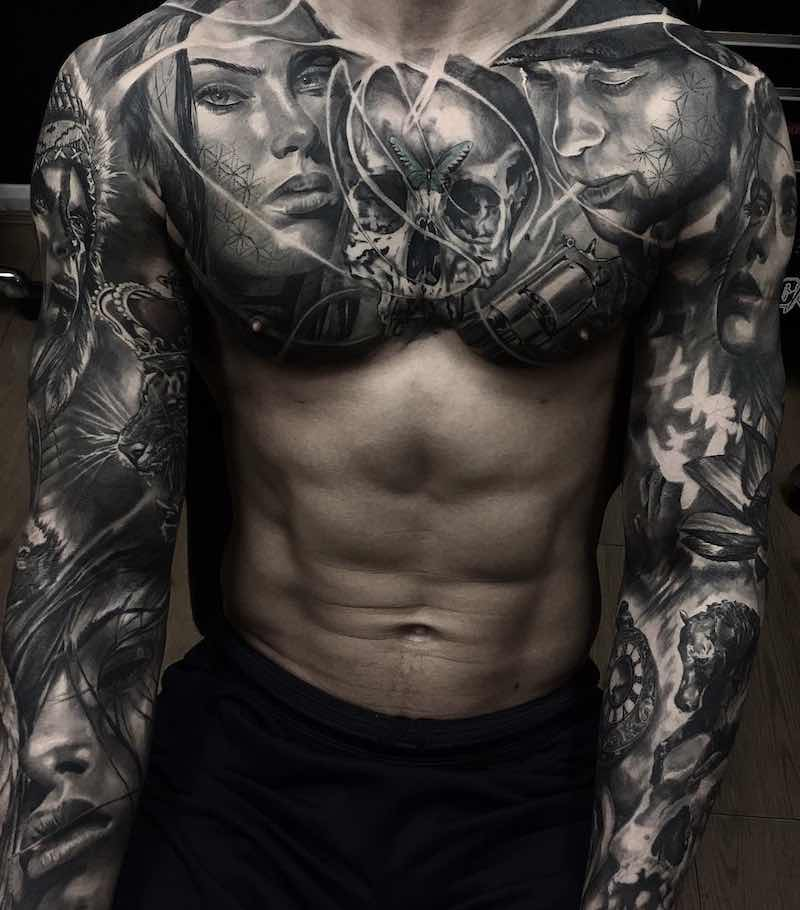 Chest Piece Tattoo by Adem Senturk