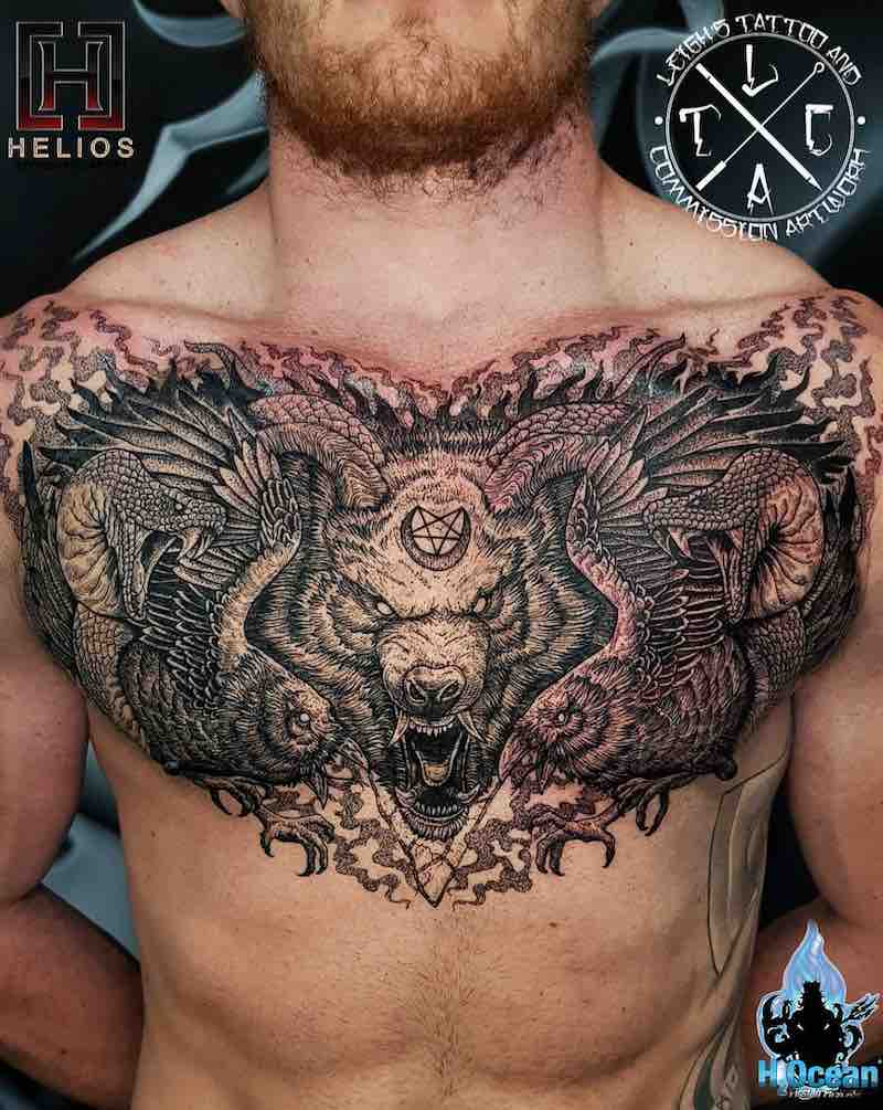 Chest Piece Tattoo by Leighstca