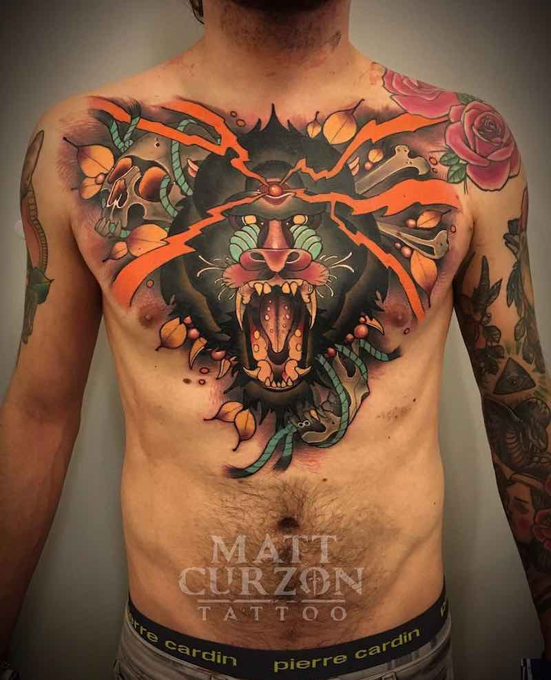 Chest Piece Tattoo by Matt Curzon-