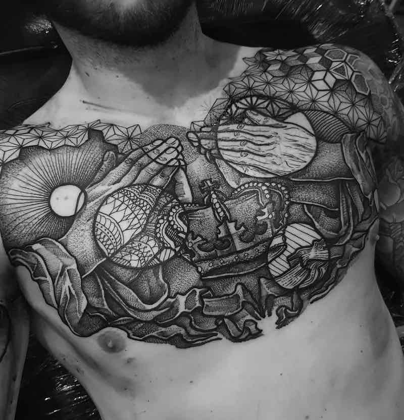 Chest Piece Tattoo by Paul Davies