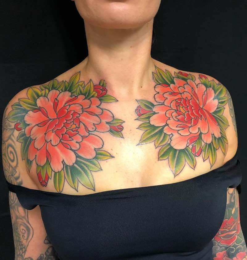 Chest Piece Tattoo by Tom Tom