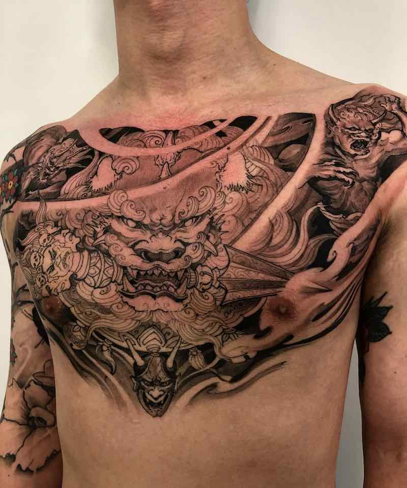 Chest Piece Tattoo by Tony Hu